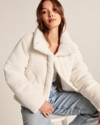 A&F Faux Fur Mini Puffer in Off White ~ fluffy luxe style jackets ~ women's glamorous winter outerwear ~ Abercrombie & Fitch womens on-trend fashion