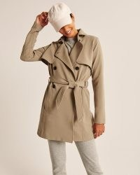Abercrombie & Fitch Drapey Trench Coat   womens neutral belted tie waist coats