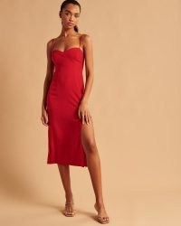 Abercrombie & Fitch High-Slit Midaxi Dress | split hem skinny strap evening dresses | strappy party fashion