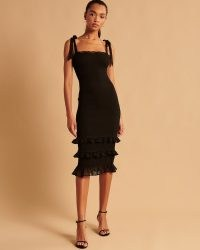 Abercrombie & Fitch Tie-Strap Smocked Midi Dress ~ LBD ~ black strappy ruffled hem party dresses ~ glamorous evening fashion