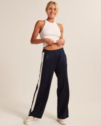 Abercrombie & Fitch Tricot Track Pants ~ navy blue side stripe womens joggers ~ women's jogging bottoms