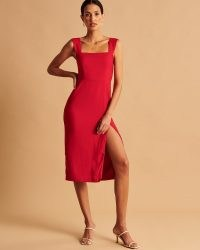 Abercrombie & Fitch Wide Strap Midi Dress ~ red sleevless split hem party dresses ~ square neck ~ evening occasion fashion ~ LRD