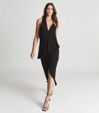 REISS XENA STRAPPY OPEN BACK COCKTAIL DRESS BLACK ~ glamorous LBD ~ asymmetric evening occasion dresses ~ event glamour