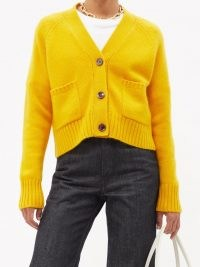 ALLUDE Yellow cashmere cardigan ~ womens bright button front V-neck cardigans ~ women's luxe knitwear