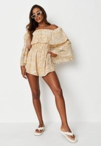 Missguided yellow floral print bardot ruffle playsuit – off the shoulder frill trim playsuits