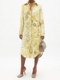 THEBE MAGUGU Imphepho-print wool-twill shirt dress ~ chic yellow curved hem dresses