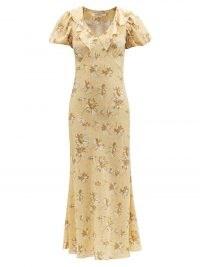 RODARTE Puff-sleeve daisy-print silk midi dress – yellow floral print ruffled V-neck collar dresses – vintage style fashion