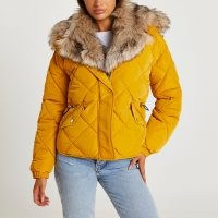 RIVER ISLAND Yellow quilted puffer coat / faux fur trim winter coats / womens zip front jackets