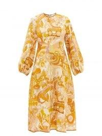 ZIMMERMANN Tempo abstract-print yellow linen-voile midi dress – retro print dresses – vintage inspired prints