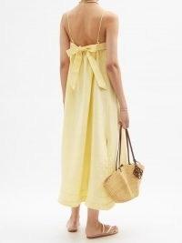 CASA RAKI Vicky tie-back yellow organic-linen dress ~ beautiful spaghetti strap sundresses ~ back detail dresses