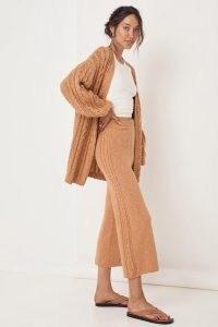 SPELL YELLOWSTONE KNIT PANTS Caramel ~ womens light brown knitted crop leg trousers ~ women's neutral knitwear fashion