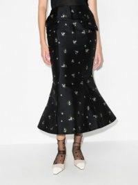 yuhan wang floral flared hem skirt | black fluted hemline skirts | fishtail hems