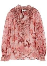 ZIMMERMANN Concert floral-print silk-chiffon blouse – Zimmermann ruffled blouses – romantic fashion