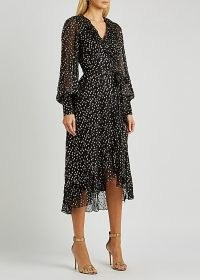 ZIMMERMANN Lurex black fil coupé chiffon wrap dress / shimmering ruffle trim occasion dresses / ruffled asymmetric hemlines