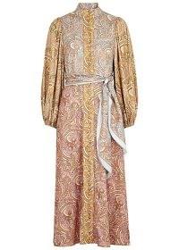 ZIMMERMANN Tempo paisley-print stretch-silk midi dress / high neck, tie waist panel printed dresses