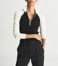 REISS ZOLA MERINO WOOL ZIP NECK JUMPER BLACK / womens colour block jumpers / women's stylish monochrome pullovers