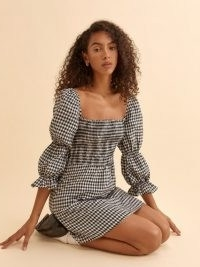 REFORMATION Zoya Linen Dress in April Check / checked smocked bodice dresses / tiered puff sleeves