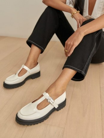 REFORMATION Abalonia Chunky Maryjane in White / T strap mary janes - flipped