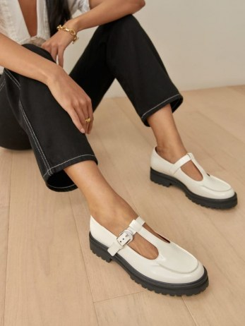 REFORMATION Abalonia Chunky Maryjane in White / T strap mary janes