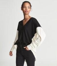 REISS ADDISON WOOL BLEND CARDIGAN ~ womens colour block relaxed fit cardigans ~ women's monochrome knitwear