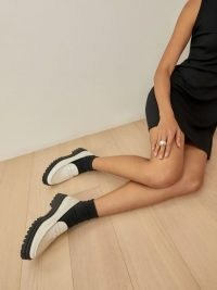REFORMATION Agathea Chunky Loafer in White / thick platform lug sole loafers / womens monochrome flatforms