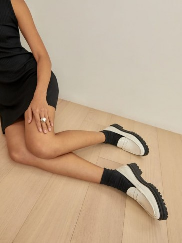 REFORMATION Agathea Chunky Loafer in White / thick platform lug sole loafers / womens monochrome flatforms - flipped