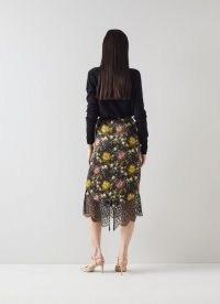 L.K. BENNETT AGNES FLORAL PRINT BLACK SILK PENCIL SKIRT ~ feminine flower print skirts ~ back V slit lace hem detail