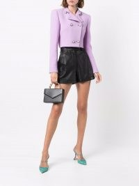Alessandra Rich double-breasted bouclé cropped jacket lilac purple ~ chic textured crop hem jackets
