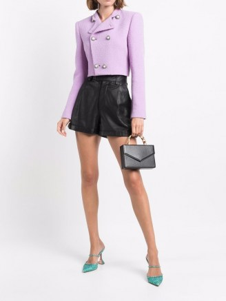 Alessandra Rich double-breasted bouclé cropped jacket lilac purple ~ chic textured crop hem jackets - flipped