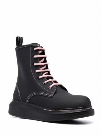 Alexander McQueen Women's chunky sole combat boots in Matte Black / Ice Pink