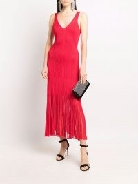 Alexander McQueen Red V-neck knitted midi dress   glamorous knitwear   evening glamour   fine knit party dresses