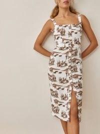 REFORMATION Anina Dress in Sonora / sleeveless square neck animal print dresses