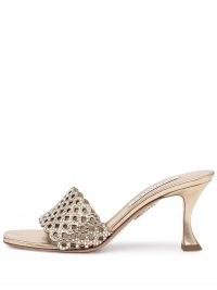 Aquazzura Crystal Candy 75mm gold tone mules ~ luxe metallic mule sandals