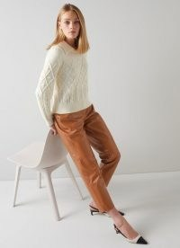 L.K. BENNETT ARRAN TOBACCO BROWN LEATHER TROUSERS ~ womens luxe straight cut trousers