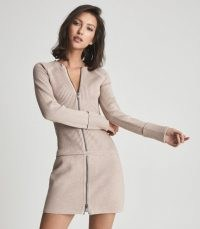 REISS ASHLEIGH KNITTED BODYCON DRESS WITH ZIP DETAIL NEUTRAL ~ chic casual sportswear inspired dresses