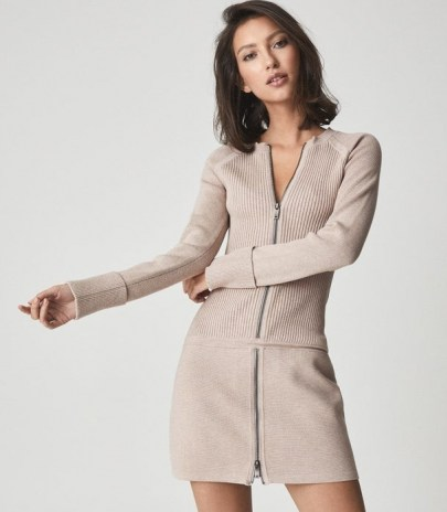 REISS ASHLEIGH KNITTED BODYCON DRESS WITH ZIP DETAIL NEUTRAL ~ chic casual sportswear inspired dresses - flipped