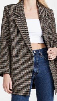 ASTR the Label Autumn Blazer in Brown/Green Plaid ~ womens longline checked jackets