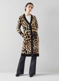 L.K. BENNETT ASTRID ANIMAL PRINT WOOL-BLEND LONG CARDIGAN / glamorous longline wild cat print cardigans / autumn and winter knitwear