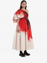 Alexander McQueen Asymmetric Draped sleeve Anemone print dress Red Mix | one shoulder statement dresses | puff sleeve occasion fashion | romantic event clothing with volume