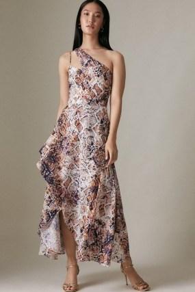 KAREN MILLEN Asymmetric Neck Printed High Low Dress – feminine cut out one shoulder occasion dresses - flipped