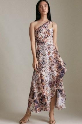 KAREN MILLEN Asymmetric Neck Printed High Low Dress – feminine cut out one shoulder occasion dresses