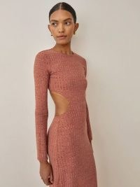 Reformation Auguste Dress in Spice – ribbed knit cut out detail maxi dresses