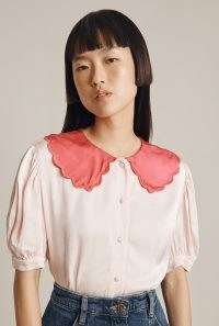 GHOST AVA BLOUSE in Pink ~ satin oversized scalloped collar blouses ~ vintage inspired fashion