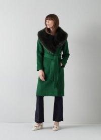 L.K. BENNETT AVA GREEN WOOL-BLEND FAUX FUR COLLAR COAT / womens self tie belt winter coats