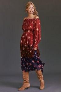 ANTHROPOLOGIE Off-The-Shoulder Maxi Dress Brown Motif / floral colour block bardot dresses / boho fashion / gorgeous bohemian inspired clothing