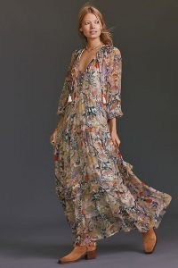 ANTHROPOLOGIE Floral Tiered Maxi Dress Neutral Motif / nature print dresses / bird prints / owl prints