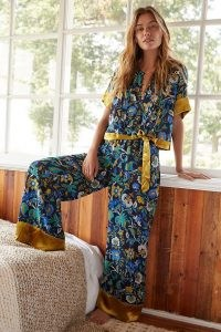 ANTHROPOLOGIE Clara Velvet-Trimmed Trousers / floral loungewear pants / womens feminine wide leg lounge trousers