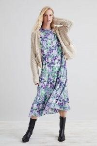 Lolly's Laundry Olivia Midi Dress Purple / floral tiered dresses