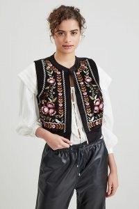 ANTHROPOLOGIE Corduroy Embroidered Waistcoat Black / womens floral waistcoats / folk inspired fashion