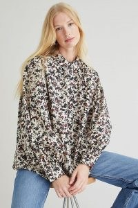 Second Female Annie Shirt / women's floral print voluminous sleeve shirts